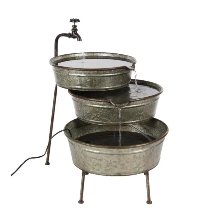 Gray 3-Stacked Tubs Under Faucet Metal Fountain by Litton Lane