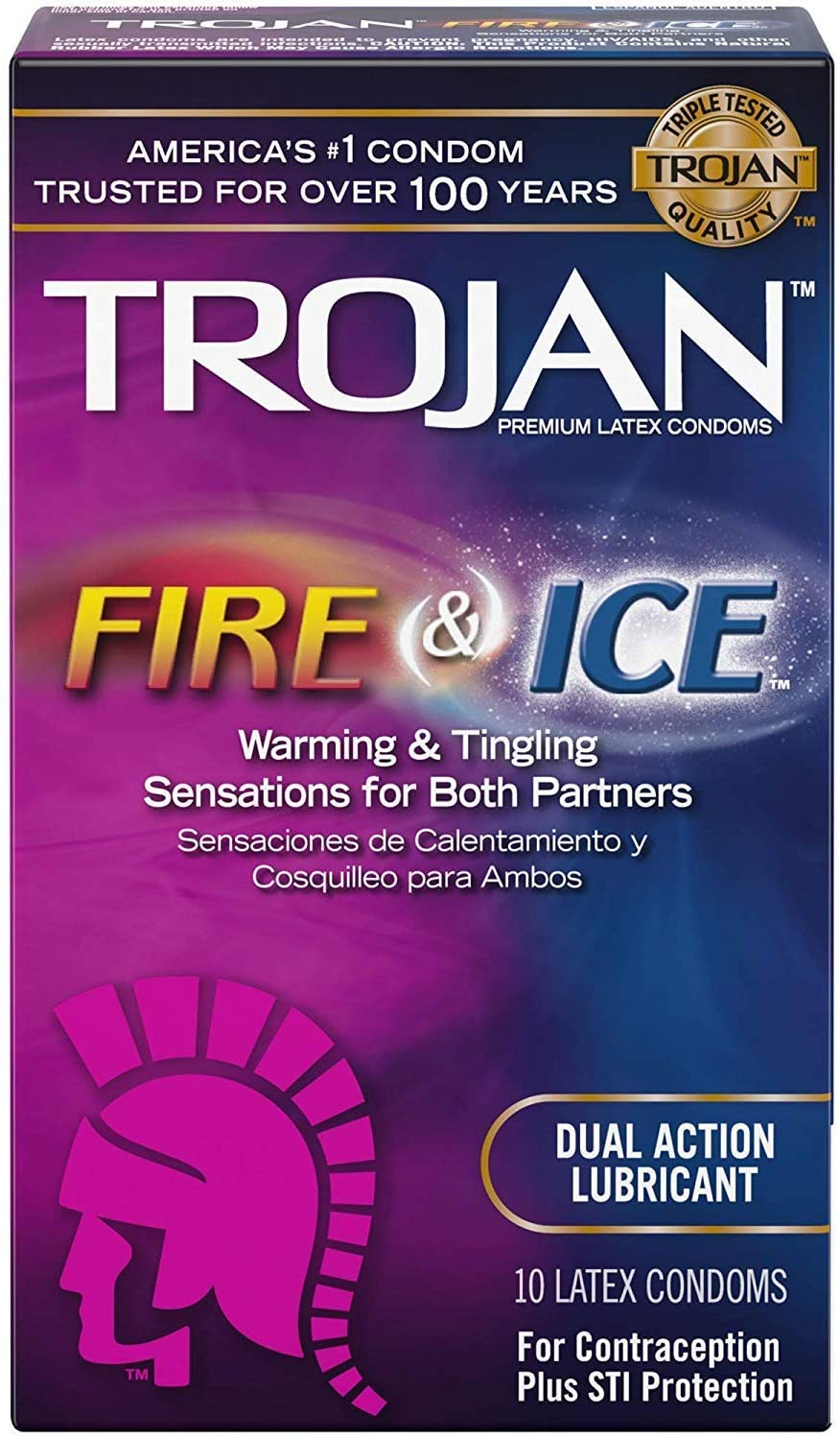 TROJAN Pleasures Fire and Ice Dual Action Lubricated Condoms