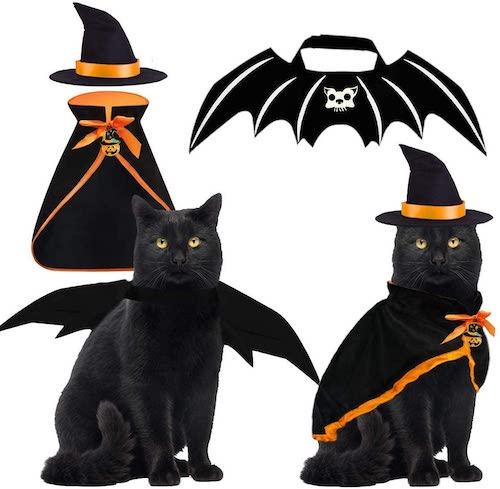 Byhoo 2-in-1 Bat Wings/ Wizard Halloween Costume for Cats