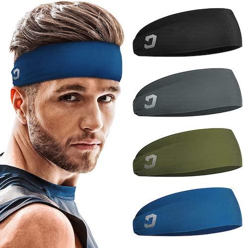 Vinsguir Mens Sweat-Wicking Headband, 4- Pack
