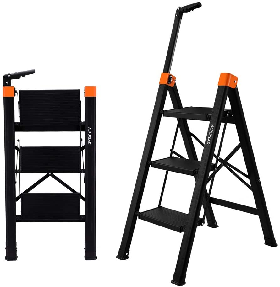 ALPURLAD 3 Step Ladder with Telescopic Hand