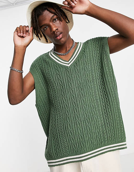 ASOS DESIGN knit sweater vest in bottle green with tipping, sweater vest