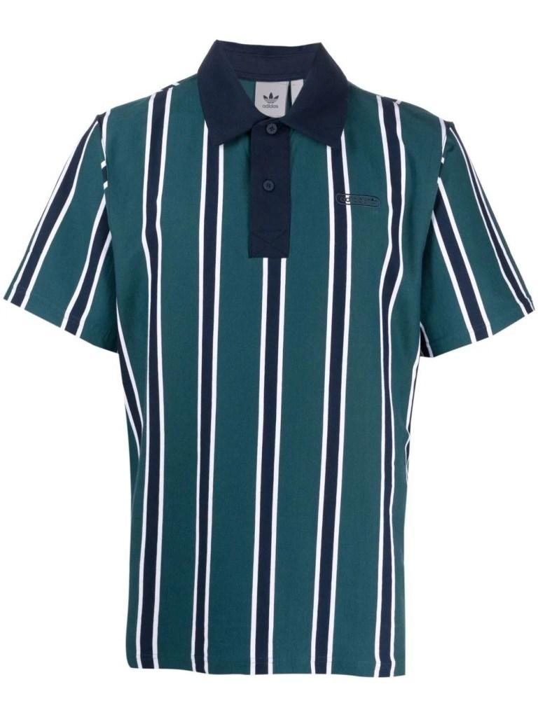 Adidas Terry Stripe Print Polo Shirt