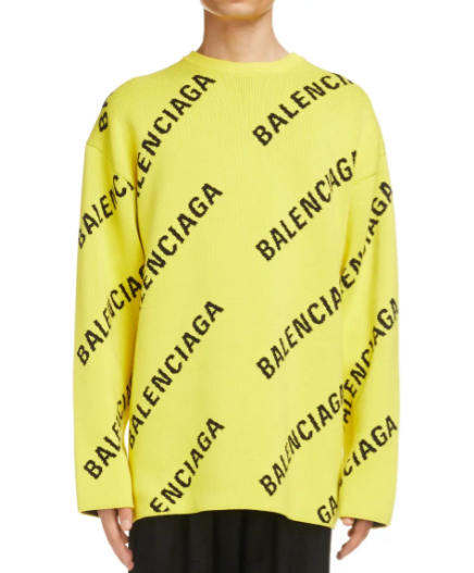 Balenciaga-Logo-Intarsia-Oversize-Crewneck-Sweater