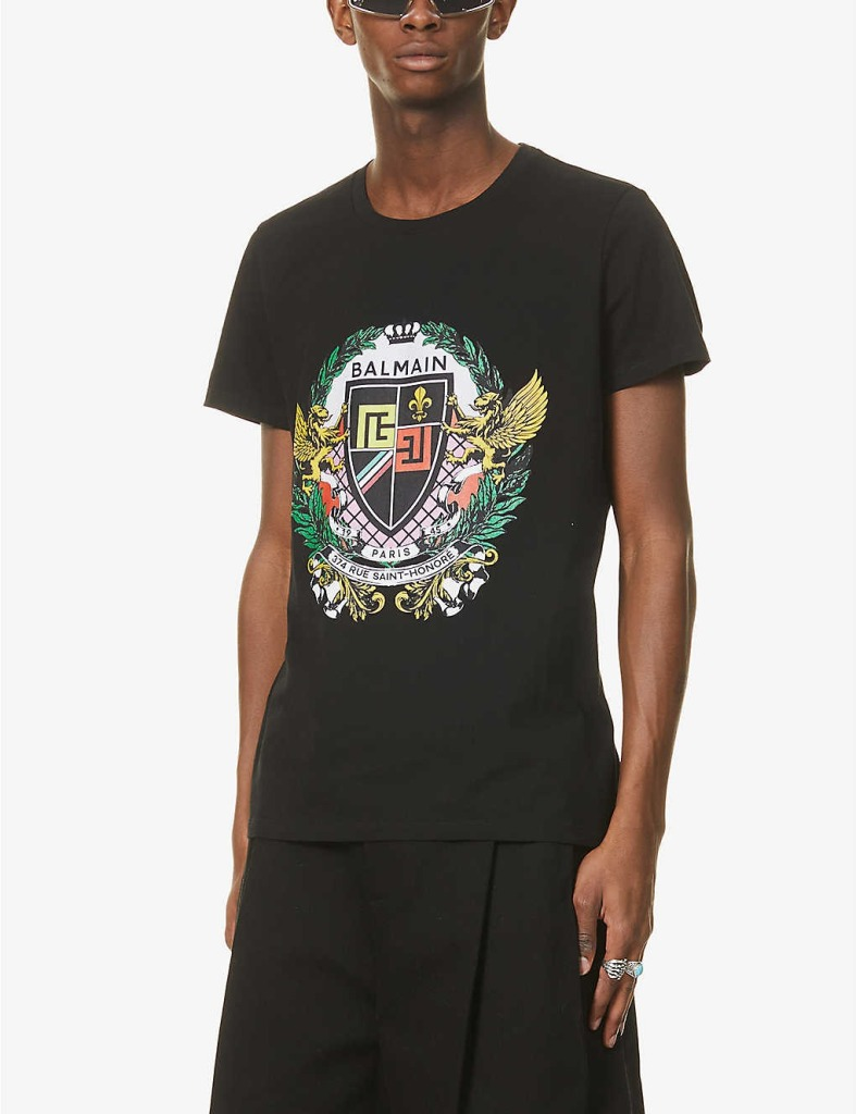 Balmain-Branded-Graphic-Print-Cotton-Jersey-T-Shirt, best designer T-Shirts for men