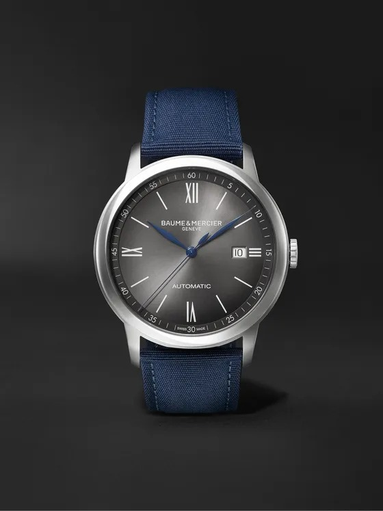 Baume-et-Mercier-Classima-Automatic-42MM-Steel-and-Canvas-Watch