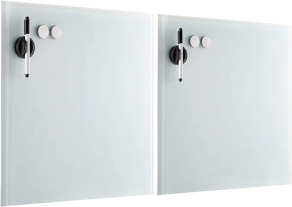 BirdRock Home 2 Pack Magnetic Glass Dry Erase Board