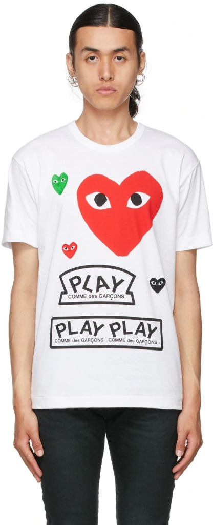Comme-des-Garcons-Play-White-Red-Logo-T-Shirt