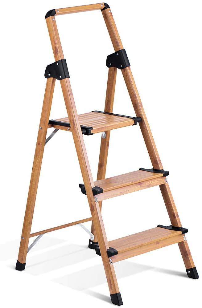 Delxo Lightweight Aluminum Woodgrain 3 Step Ladder