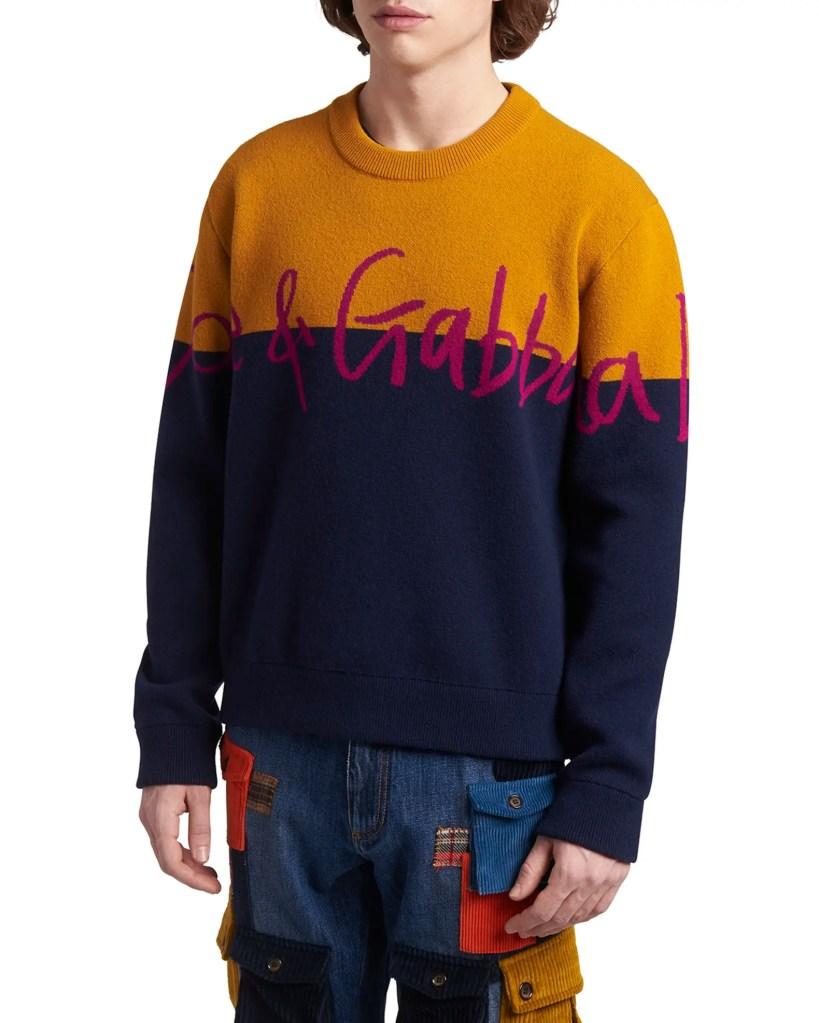Dolce-Gabbana-Coloblock-Logo-Sweater