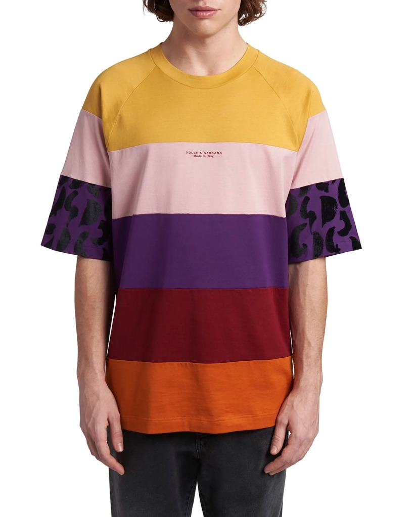 Dolce-and-Gabbana-Mens-Colorblock-Raglan-Sleeve-T-Shirt