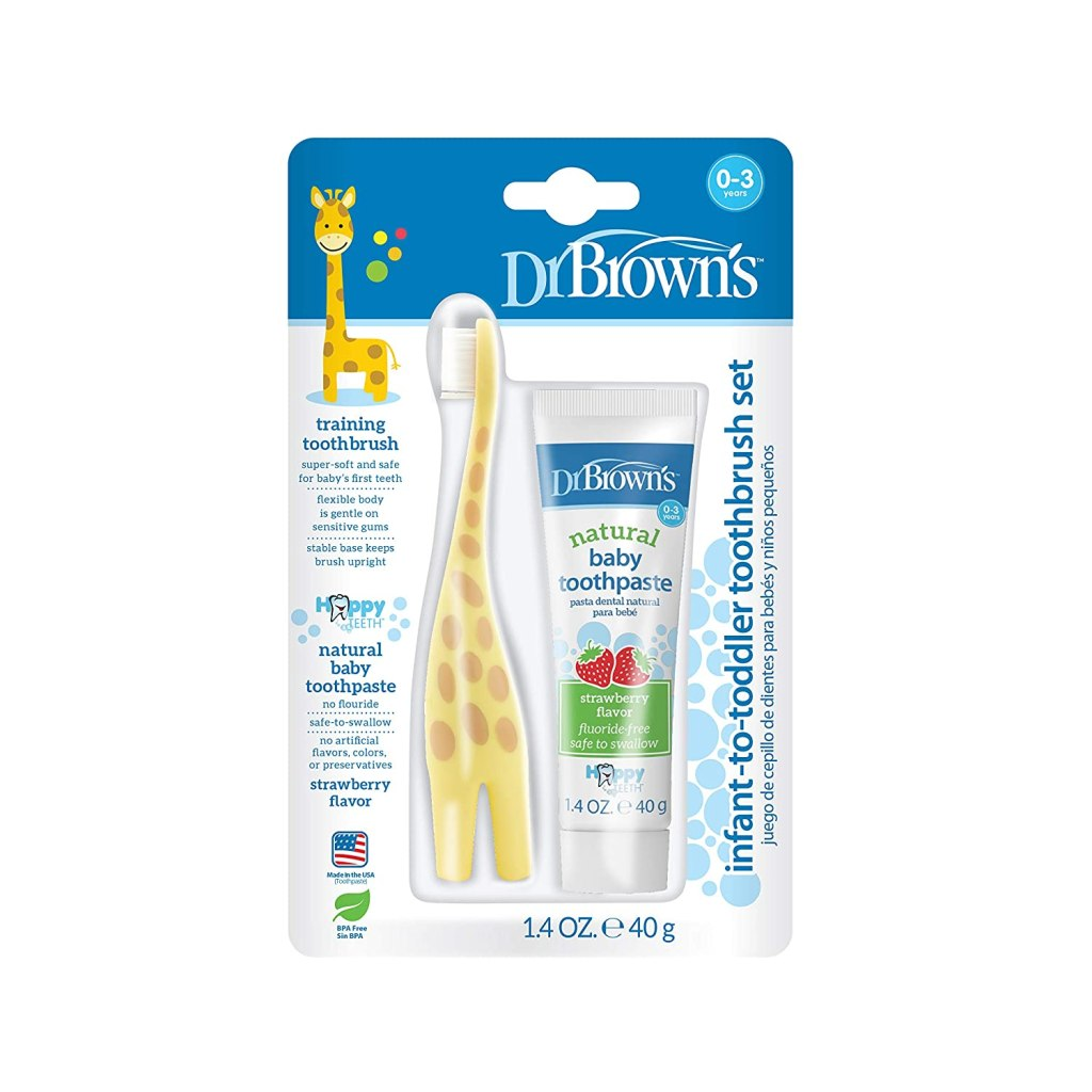 Dr. Brown's Infant-to-Toddler Toothbrush, Giraffe & Strawberry Toothpaste Set
