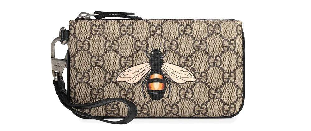 Gucci-Bee-Print-GG-Supreme-Pouch