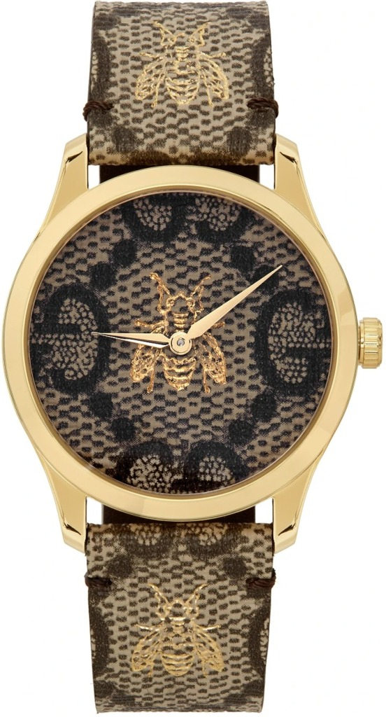 Gucci-Gold-and-Beige-G-Timeless-Bee-Watch