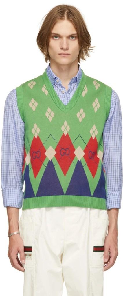 Gucci-Green-Argyle-Knit-Sweater