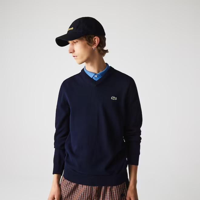Lacoste-V-Neck-Organic-Cotton-Sweater