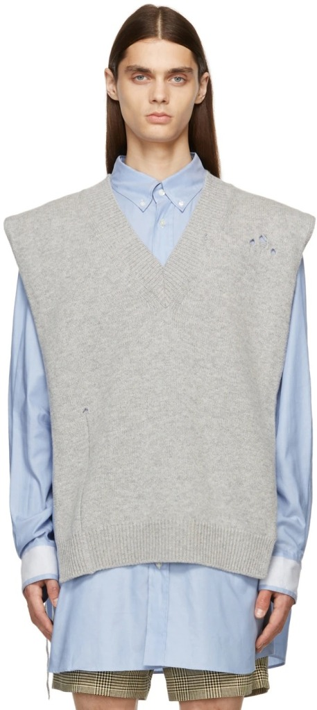Maison-Margiela-Grey-Knit-Distressed-Vest