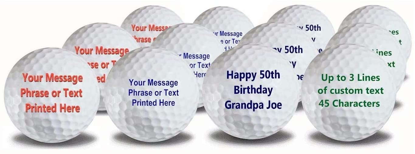 Meihuaao Personalized Golf Balls with red, green and blue text