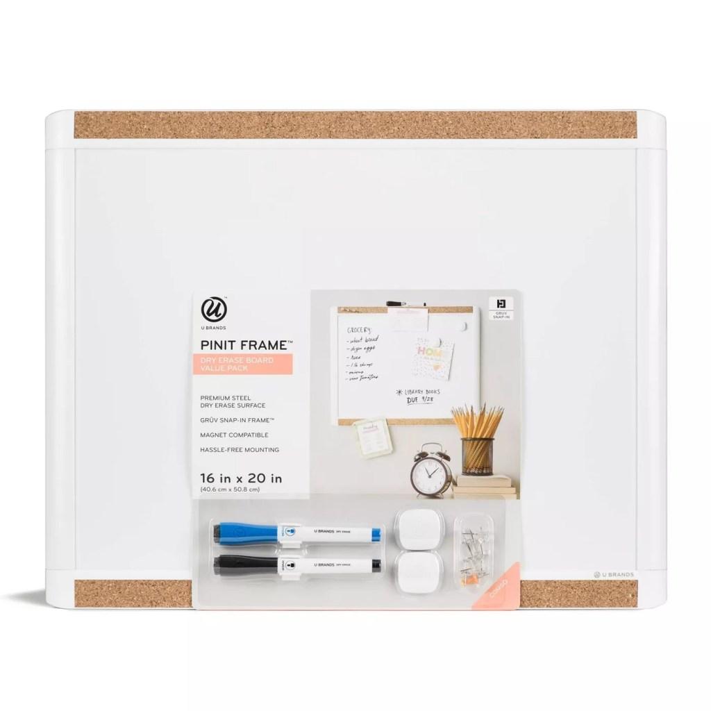 "U Brands 16""x20"" Pin it Frame Magnetic Dry Erase Board Value Pack"