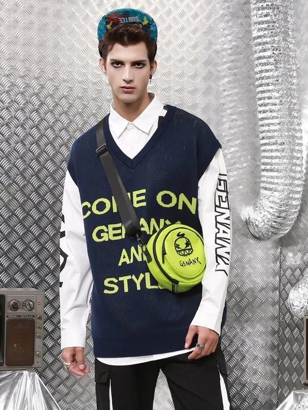 SHEIN-Men-Slogan-Pattern-Sweater-Vest