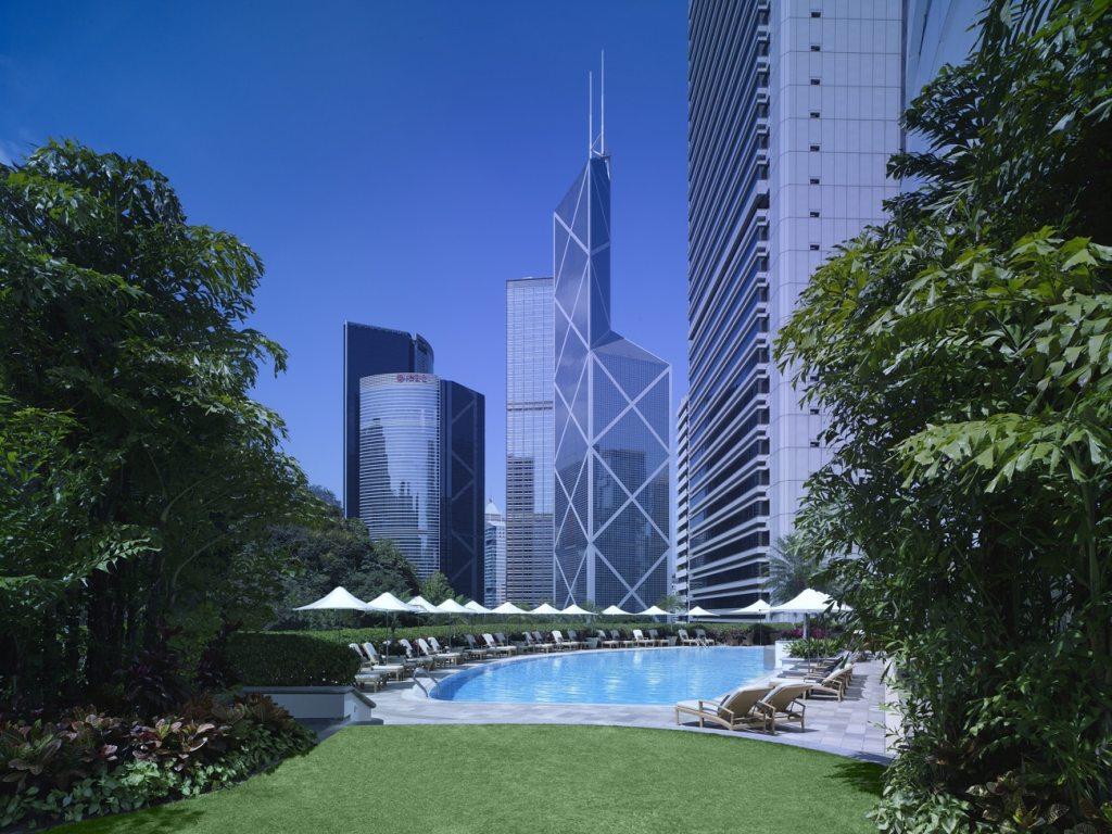 Island Shangri-La, Hong Kong pool and building, Work from Paradise