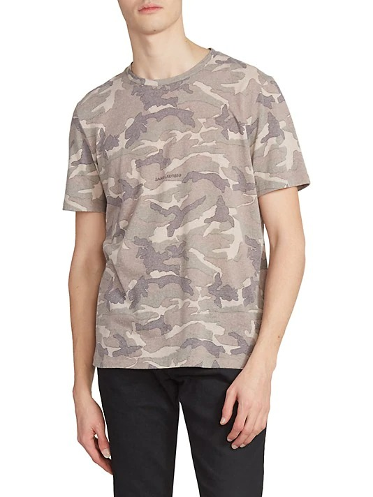 Saint-Laurent-Rive-Gauche-Camo-Print-Crewneck-T-Shirt