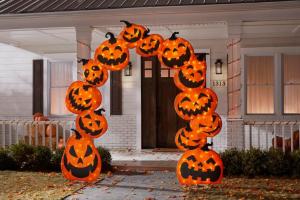 warm white LED pumpkin arch