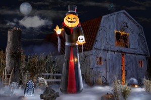 large Halloween decorations - 12 ft. giant-sized pumpkin head reaper inflatable
