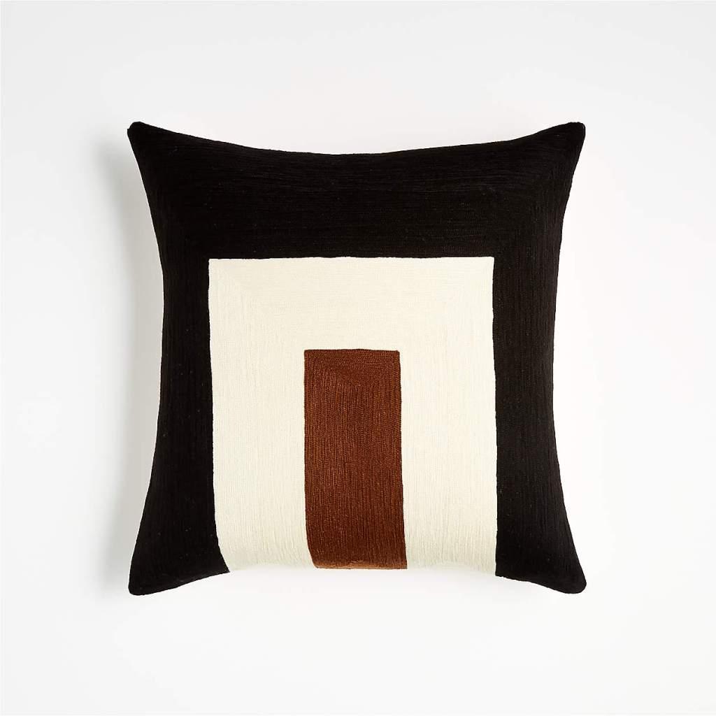 "Shinola Michigan 18"" Navy Embroidered Pillow"