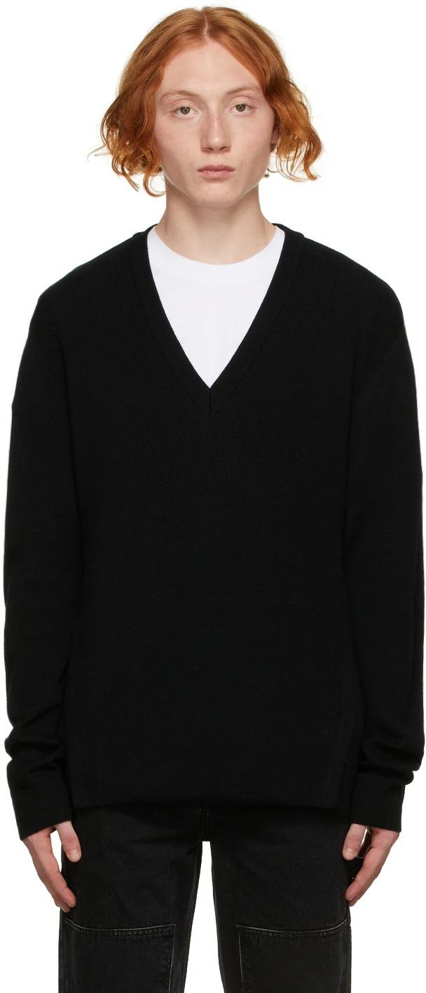Solid-Homme-Black-V-Neck-Sweater