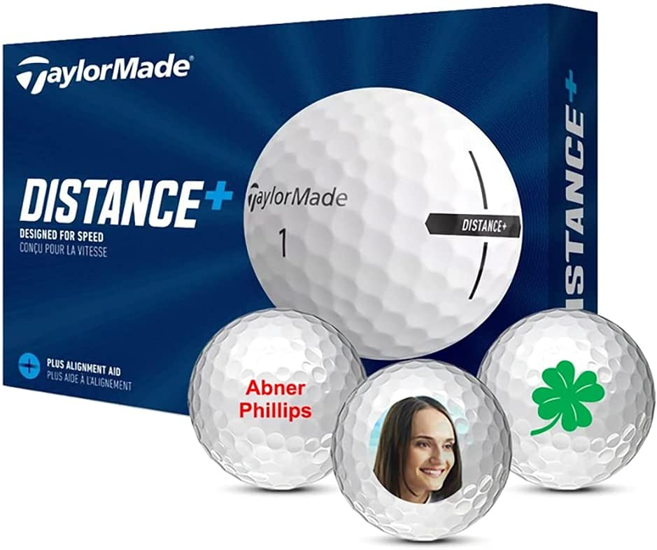 TaylorMade Distance Logo Personalized Golf Balls with text, image, logo