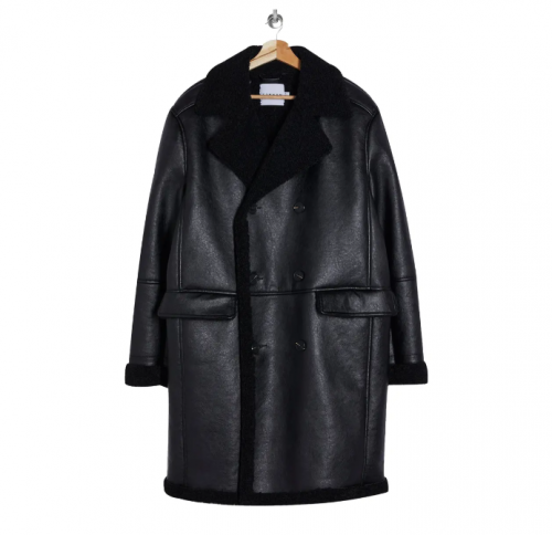 Topman Double Breasted Faux Leather and Faux Shearling Coat