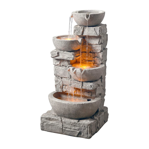 Peaktop Water 4 Tiered Bowls Floor Stacked Stone Waterfall Fountain