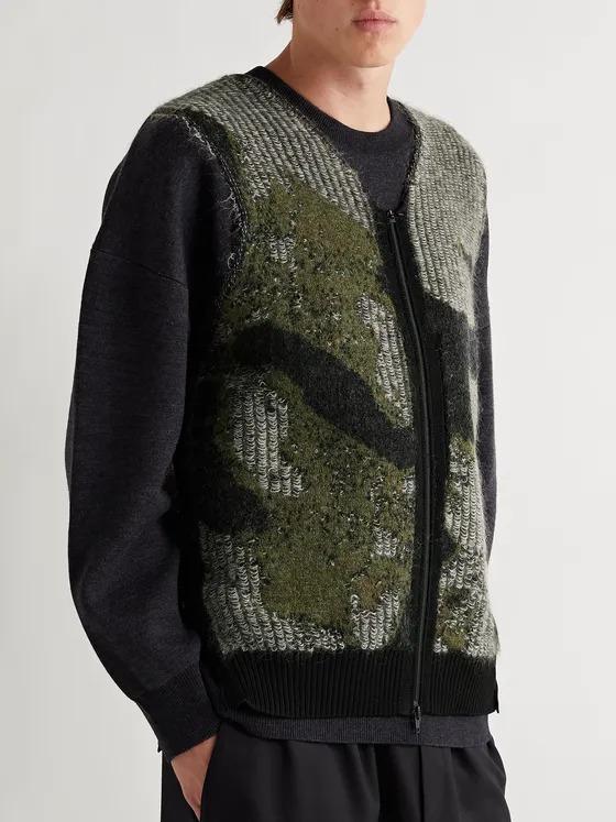 Y-3-Camo-textured-sweater-vest