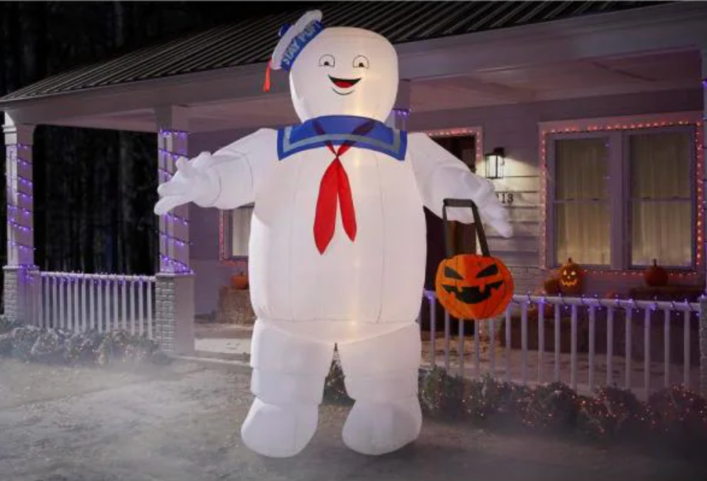 ghostbusters stay puft with pumpkin tote, best halloween yard decorations