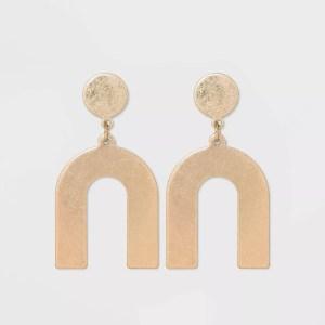 flat geometric brass earrings, gifts for wife