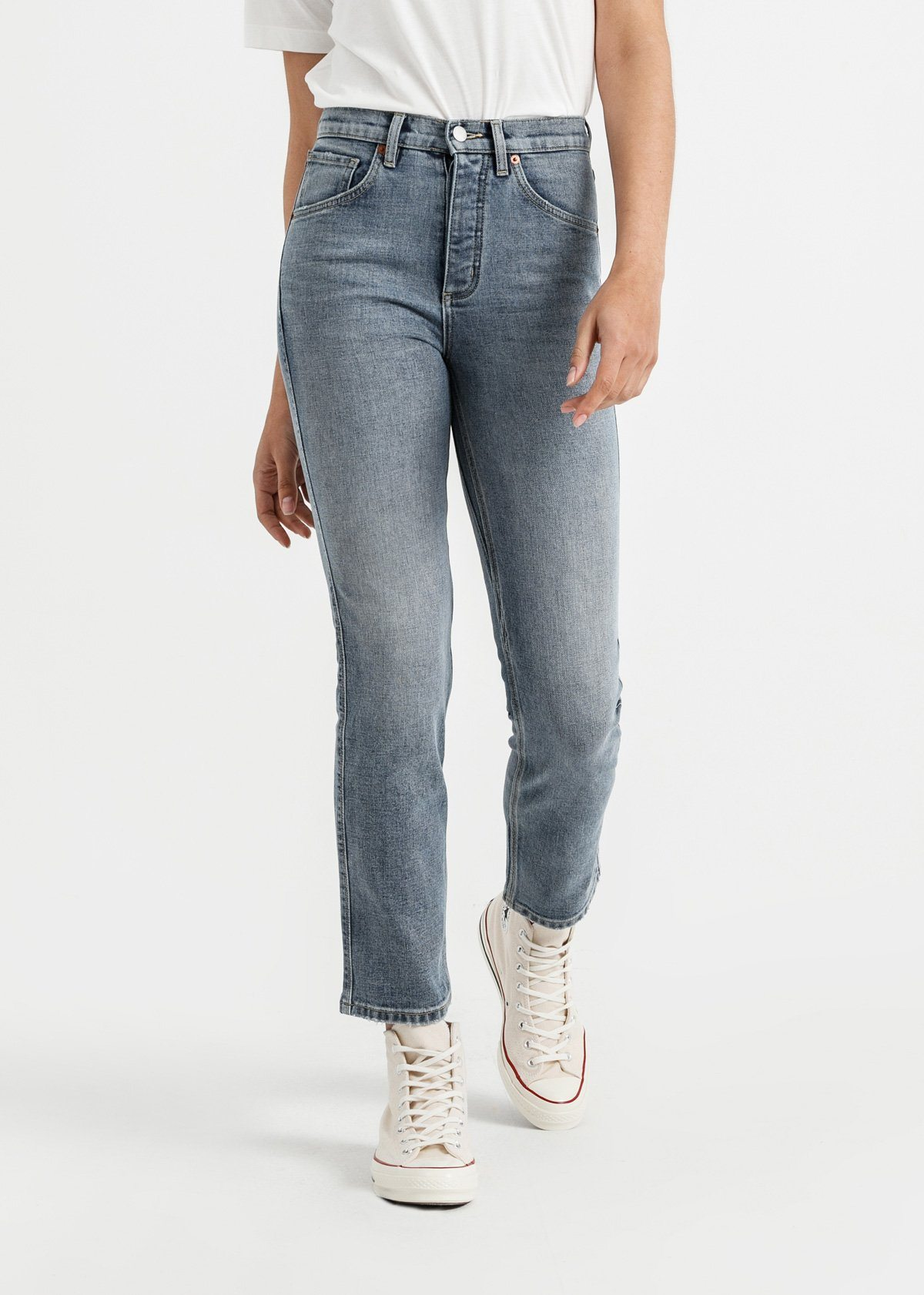 Women's High Rise Straight Stretch Jeans
