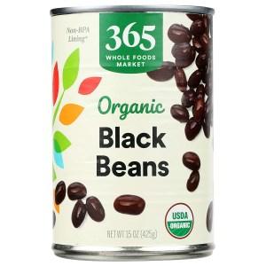 365 by WFM black beans, meat alternatives