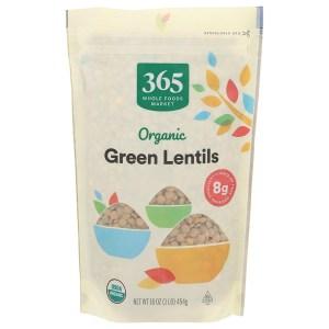 365 organic green lentils, meat alternatives