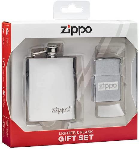 Brushed Chrome Zippo Lighter Gift Set