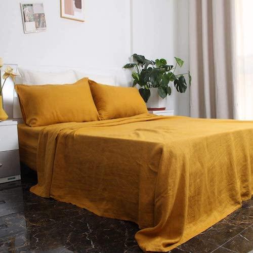 S VICTORY SYMBOL 100% French Natural Linen Sheet Set