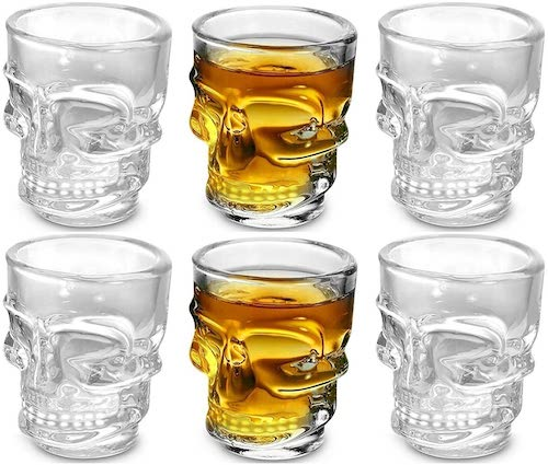 Circleware Skull Face Heavy Base Shot Glasses, Set of 6