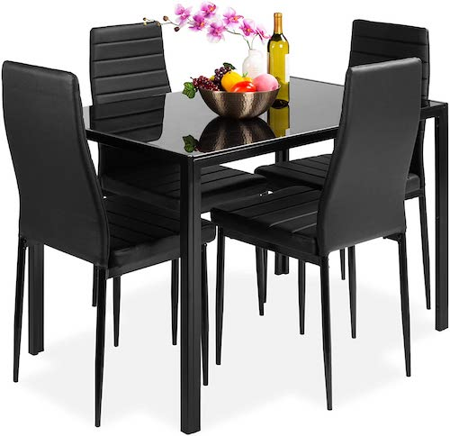 Best Choice Products 5-Piece Dining Set with Glass Tabletop