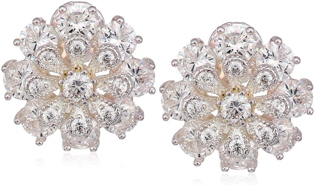 Anne Klein Women's Silver/Crystal CZ Flower EZ Comfort Clip Button Earrings