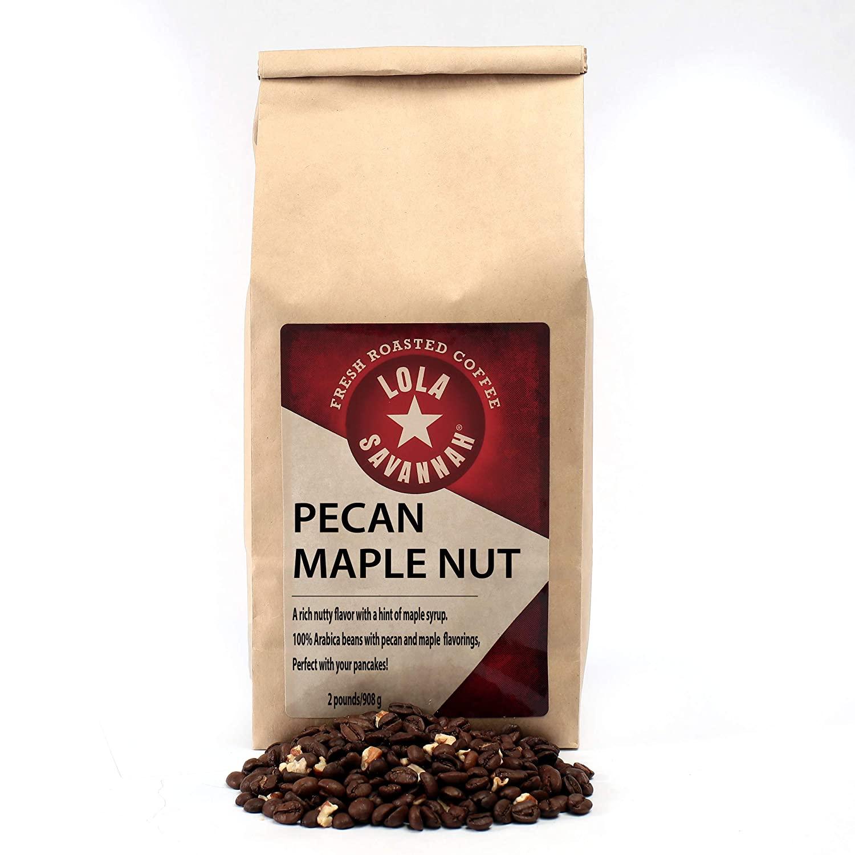 Lola Savannah Pecan Maple Nut Flavored Whole Bean Coffee