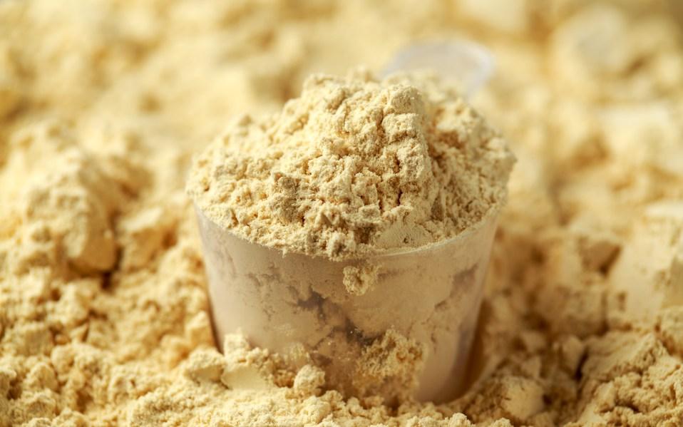 Scoop of Pea Vegan protein powder.