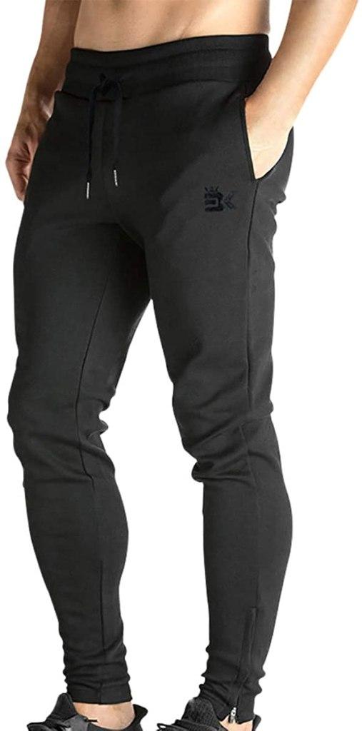 BROKIG Mens Zip Joggers Pants
