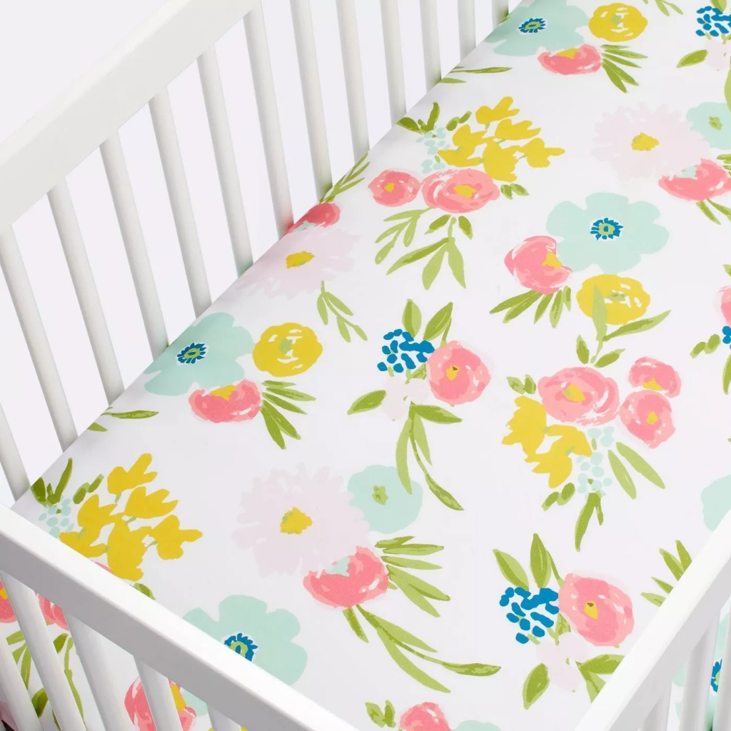 Cloud Island™ Pink Fitted Crib Sheet Floral