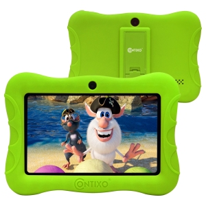 Contixo 7 inch Kids Tablet Android WiFi Camera 16GB Bluetooth Learning Tablet for Toddlers Children Kids Parental Control Pre-Installed Free Education Apps w/Kid-Proof Protective Case, V8-3-ST Green