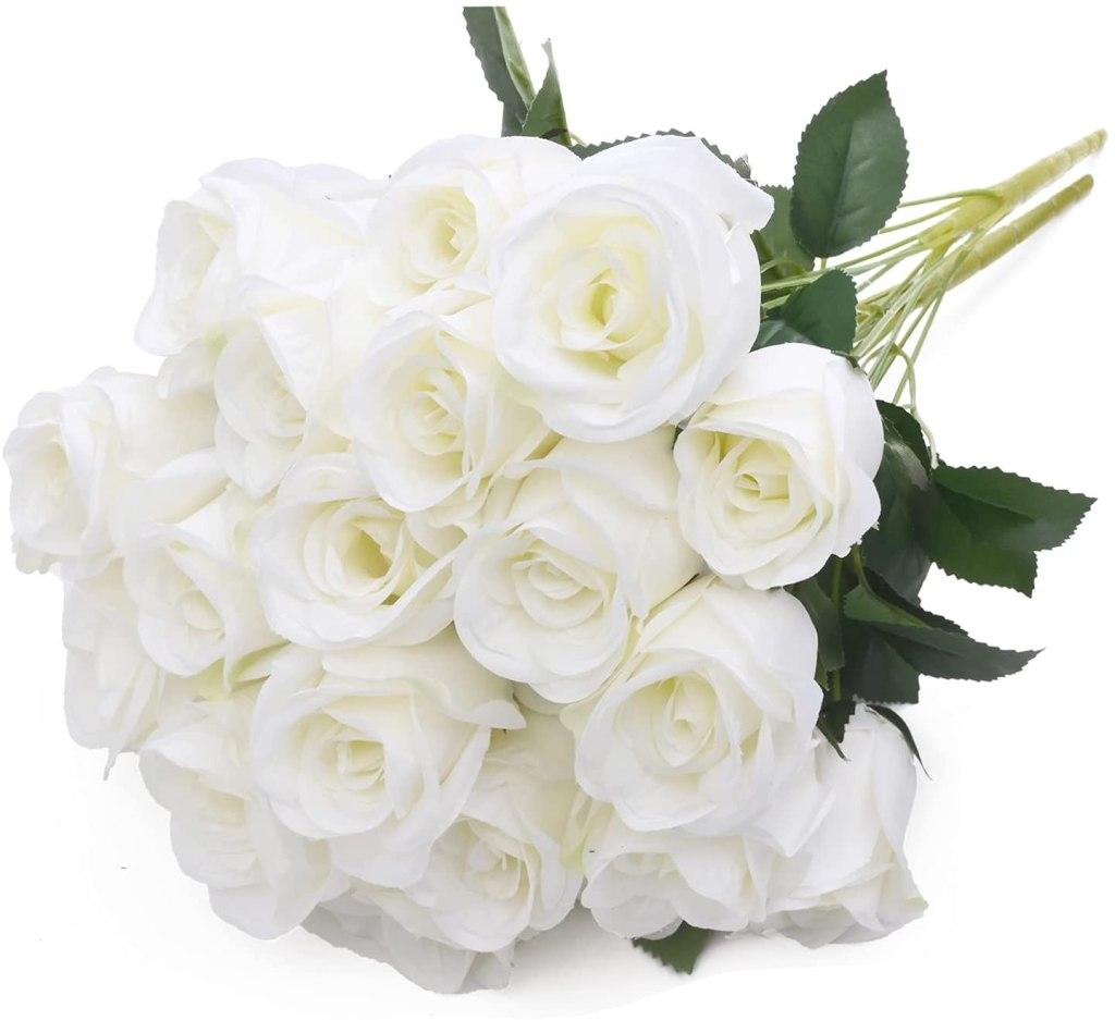 Denvii Artificial White Roses
